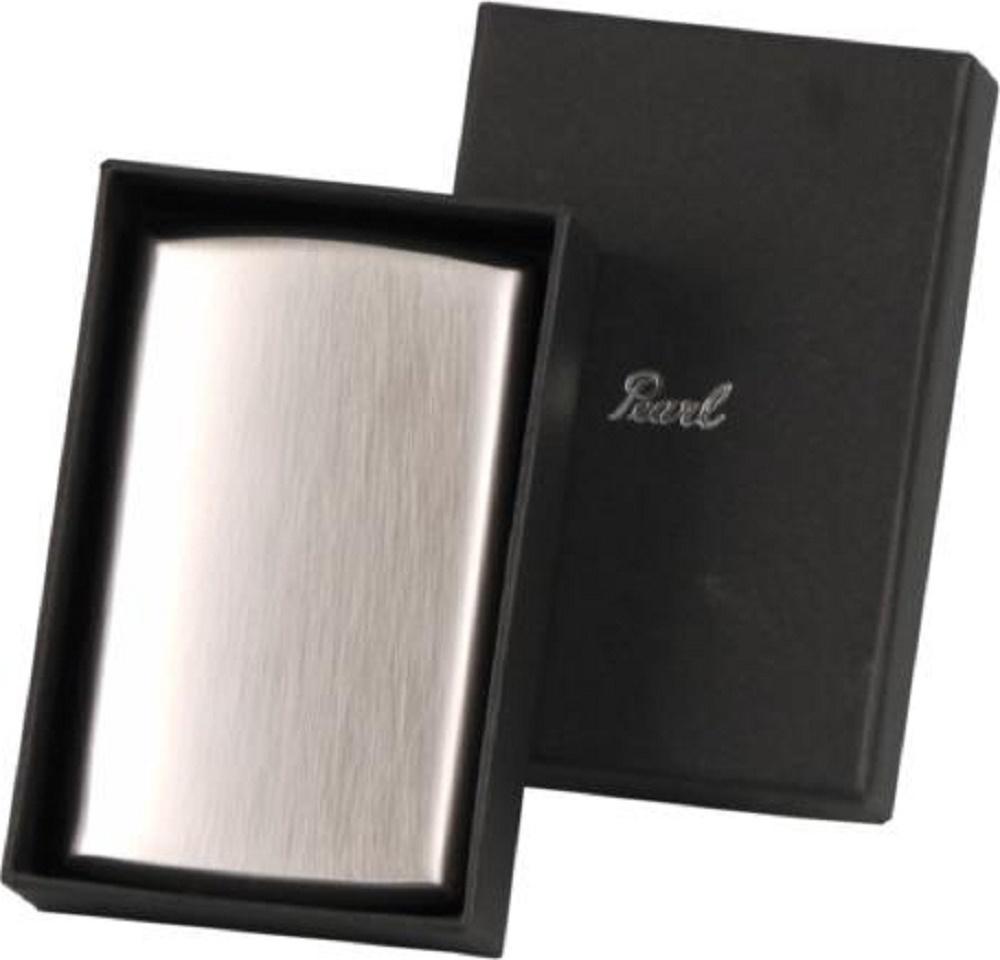 Zigarettenetuis PEARL Zigarettenetui Metall versilbert/Lack schwarz 20 Zigaretten 85 100 mm